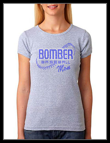 BOMBER BASEBALL MOM RHINESTONE SHIRT