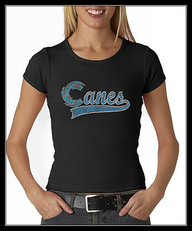 "HUNTINGTOWN HIGH- ""CANES"" SWOOSH RHINESTONE SHIRT"
