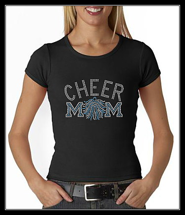 CHEER MOM POM RHINESTONE SHIRT