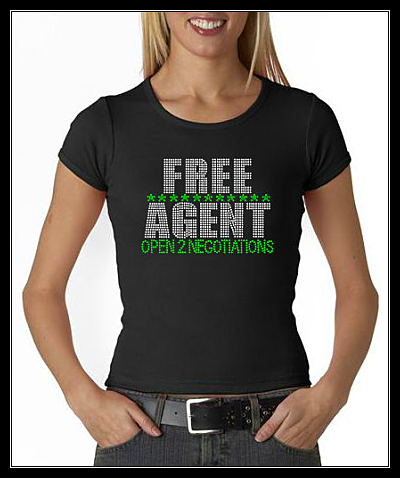 FREE AGENT RHINESTONE SHIRT- OPEN TO NEGOTIATIONS