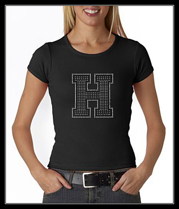 "LARGE "" H "" RHINESTONE SHIRT"