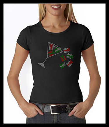 "HOLIDAY ""MARTINI PRESENTS"" RHINESTONE SHIRT"