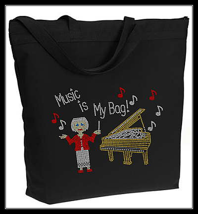 MUSIC IS MY BAG RHINESTONE TOTE BAG