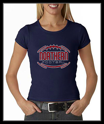 NORTHERN FOOTBALL RHINESTONE SHIRT - NAVY