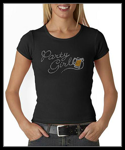 PARTY GIRL - BEER RHINESTONE SHIRT