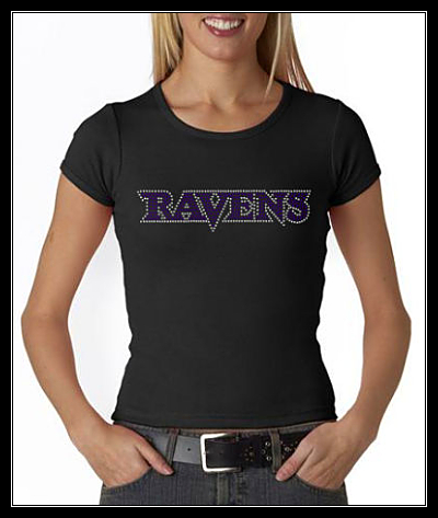 "RAVENS ""WORD"" CLEAR/PURPLE RHINESTONE SHIRT"