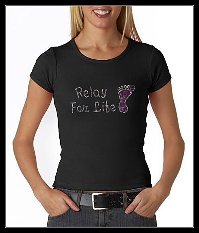 "RELAY FOR LIFE ""FOOT"" RHINESTONE SHIRT"