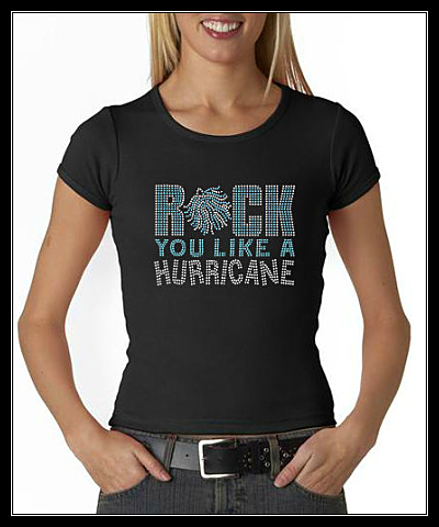 "ROCK YOU LIKE A HURRICANE ""CHEER"" RHINESTONE SHIRT"