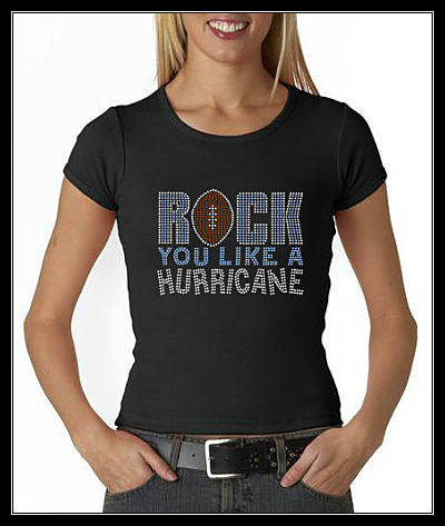 "ROCK YOU LIKE A HURRICANE ""FOOTBALL"" RHINESTONE SHIRT"