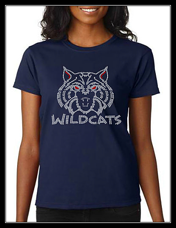 WILDCAT NAVY RHINESTONE SHIRT