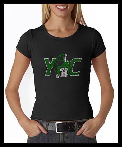 YORK COLLEGE RHINESTONE SHIRT - BLACK STONES