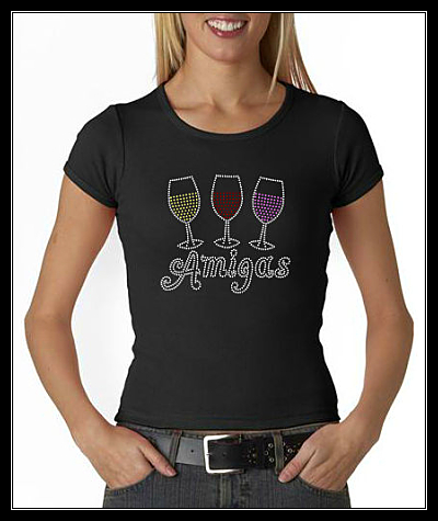 AMIGAS WINE RHINESTONE SHIRT