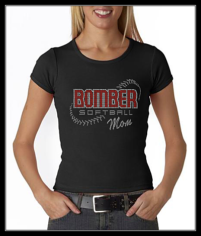 "BOMBER MOM ""LACES"" SOFTBALL RHINESTONE SHIRT"