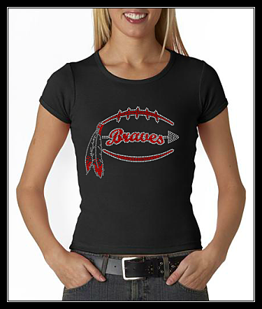BRAVES FOOTBALL RHINESTONE SHIRT