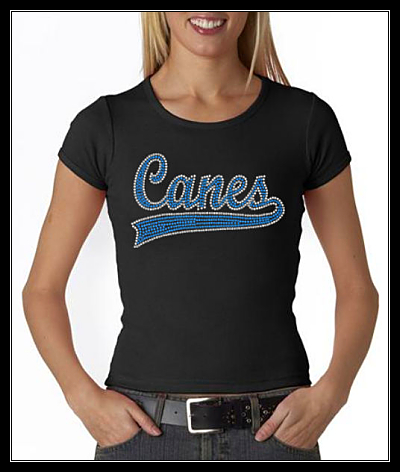 CANES WITH SWOOSH OPTION 1 RHINESTONE SHIRT
