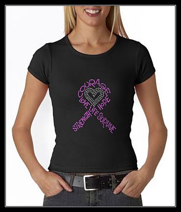 PINK CANCER RIBBON RHINESTONE SHIRT