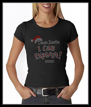 "HOLIDAY - ""DEAR SANTA""  RHINESTONE SHIRT"