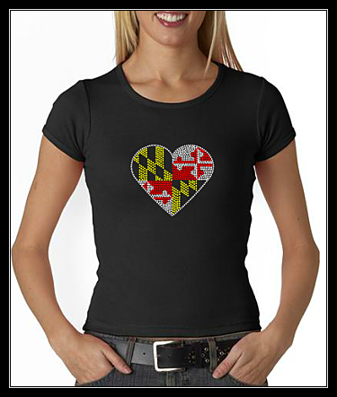 MARYLAND FLAG HEART RHINESTONE SHIRT