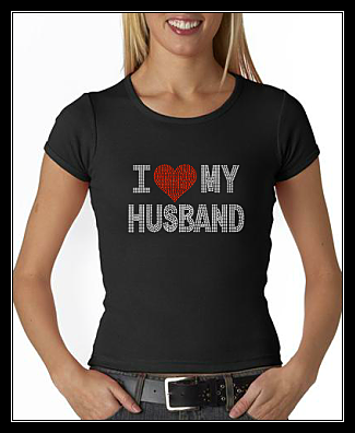I HEART (LOVE) MY HUSBAND RHINESTONE SHIRT