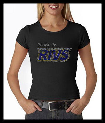 "PEORIA JR RIVS HOCKEY ""LOGO""-gold  RHINESTONE SHIRT"