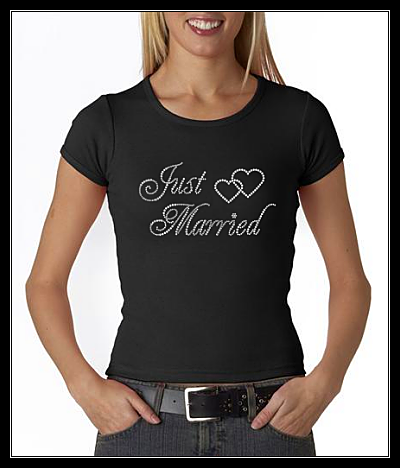 JUST MARRIED RHINESTONE TRANSFER