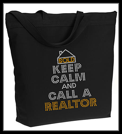 KEEP CALM AND CALL A REALTOR RHINESTONE BAG