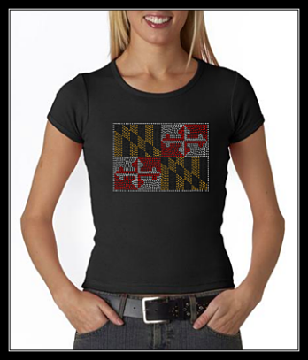 MARYLAND FLAG RHINESTONE SHIRT