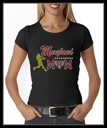 MARYLAND BASEBALL MOM RHINESTONE SHIRT