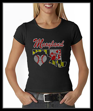 MARYLAND HEART BASEBALL MAP RHINESTONE SHIRT