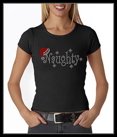 "HOLIDAY - ""NAUGHTY""  RHINESTONE SHIRT"