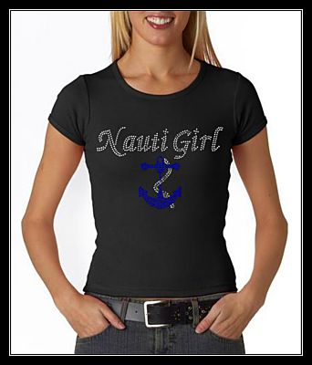NAUTI GIRL W/ ANCHOR RHINESTONE SHIRT