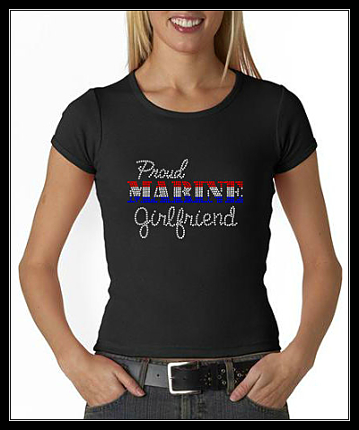 PROUD MARINE GIRLFRIEND RHINESTONE SHIRT