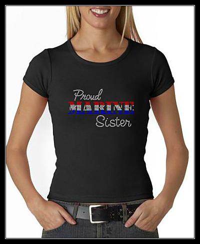 PROUD MARINE SISTER RHINESTONE SHIRT