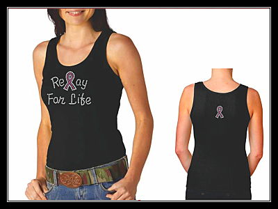 RELAY FOR LIFE RIBBON RHINESTONE SHIRT