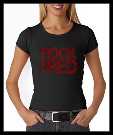 ROCK THE RED RHINESTONE SHIRT - BLACK