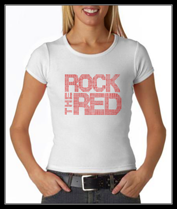 ROCK THE RED RHINESTONE SHIRT - WHITE