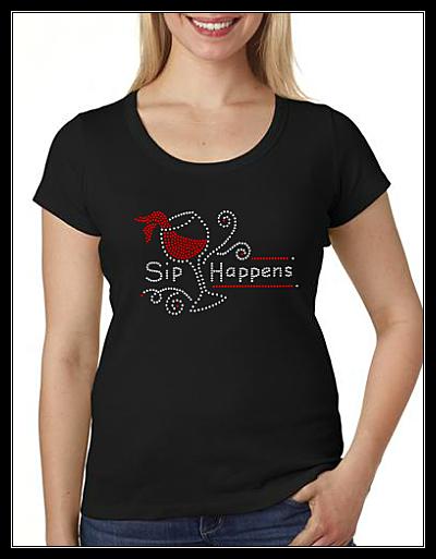 SIP HAPPENS RHINESTONE SHIRT