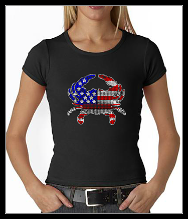 USA FLAG CRAB RHINESTONE SHIRT