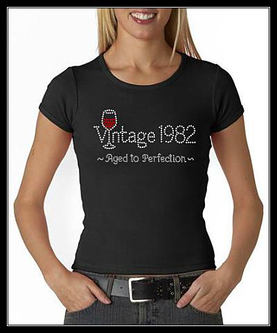 "VINTAGE ""1982"" RHINESTONE SHIRT"