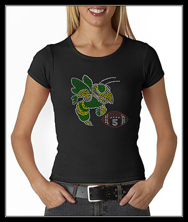 YELLOW JACKET FOOTBALL (GREEN) WITH NUMBER RHINESTONE SHIRT