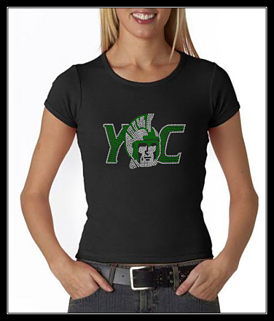 YORK COLLEGE RHINESTONE SHIRT - CLEAR