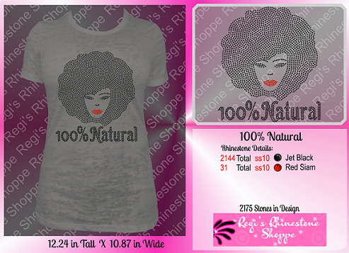 100% NATURAL AFRO RHINESTONE DIGITAL DOWNLOAD OR TRANSFER