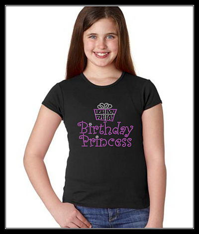 BIRTHDAY PRINCESS RHINESTONE DESIGN 1 SHIRT