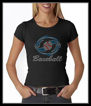 HURRICANES BASEBALL RHINESTONE CUSTOM SHIRT