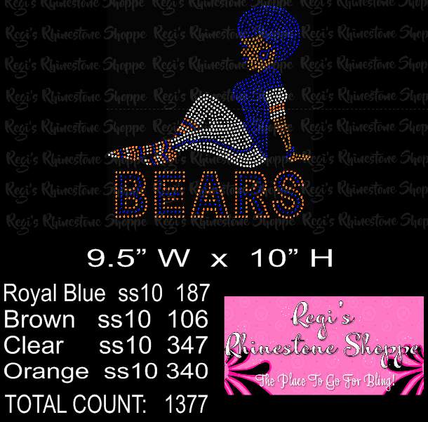 CHICAGO BEARS AFRO GIRL DIGITAL DOWNLOAD OR RHINESTONE TRANSFER