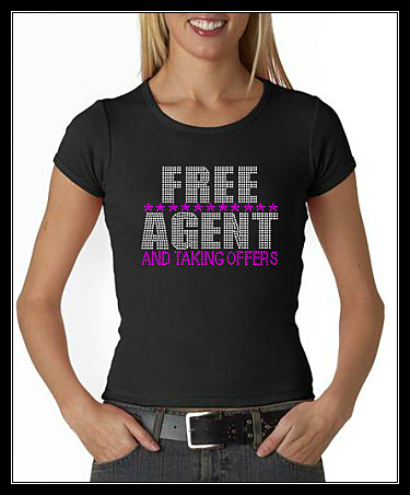 FREE AGENT RHINESTONE SHIRT- TAKING OFFERS TRANSFER OR DIGITAL DOWNLOAD