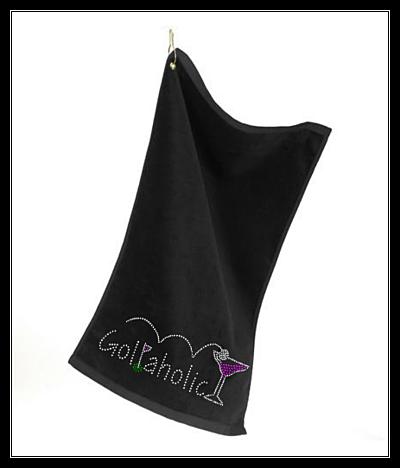 GOLFAHOLIC RHINESTONE GOLF TOWEL