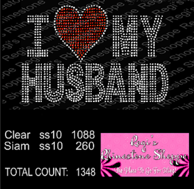 I HEART (LOVE) MY HUSBAND RHINESTONE TRANSFER OR DIGITAL DOWNLOAD