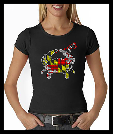 "MARYLAND FLAG CRAB LACROSSE ""LAX"" RHINESTONE SHIRT"