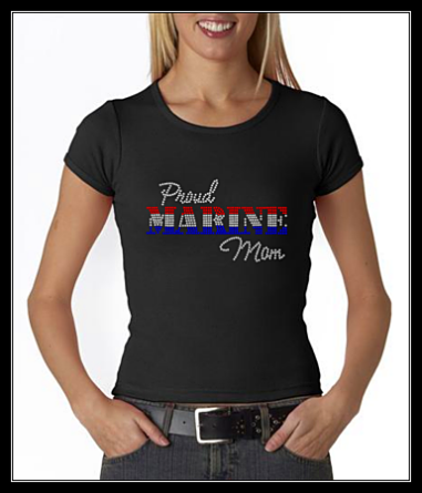PROUD MARINE MOM RHINESTONE SHIRT